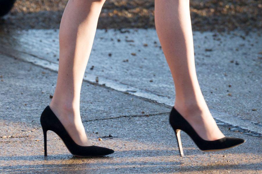 Les souliers de la duchesse de Cambridge, née Kate Middleton, à Quidenham le 24 janvier 2017