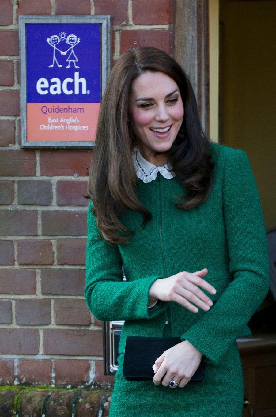 La duchesse de Cambridge, née Kate Middleton, à Quidenham le 24 janvier 2017