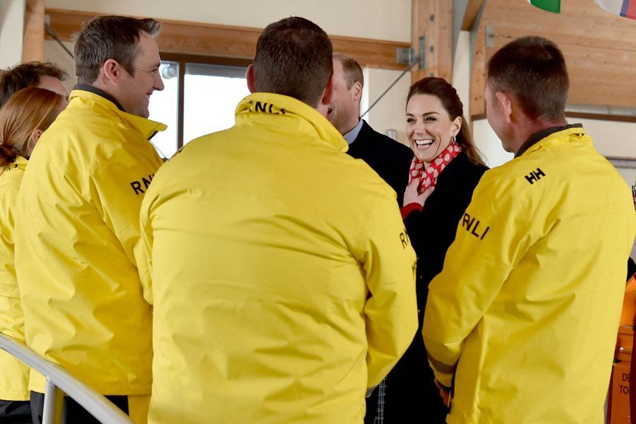 Kate Middleton et le prince William en visite à la Mumbles Lifeboat Station, à Swansea, en Galles du Sud le 3 février 2020