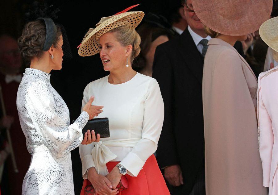 Letizia d'Espagne et Sophie de Wessexà la chapelle Saint-Georges de Windsor lors de la cérémonie del'Ordre de la Jarretière le 17 juin 2019