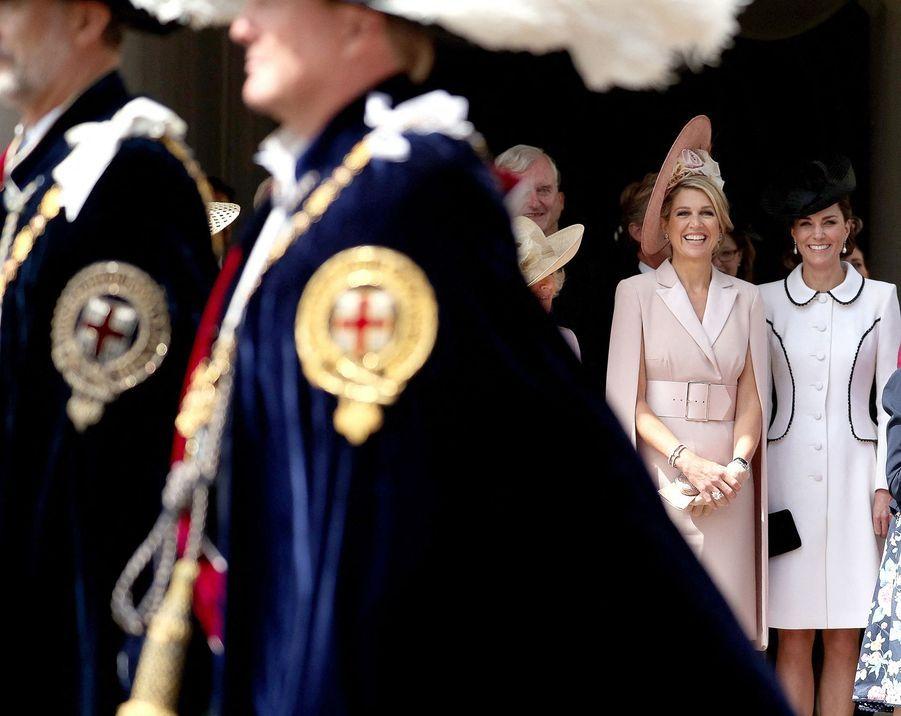 Maxima des Pays-Bas et Kate, duchesse de Cambridge, à la chapelle Saint-Georges de Windsor lors de la cérémonie del'Ordre de la Jarretière le 17 juin 2019