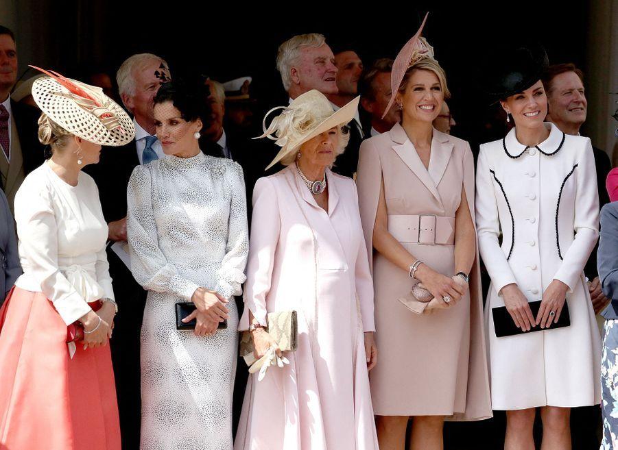 Sophie de Wessex, Letizia d'Espagne, Camilla, duchesse de Cornouailles, Maxima des Pays-Bas et Kate, duchesse de Cambridge, lors de la cérémonie del'Ordre de la Jarretière le 17 juin 2019
