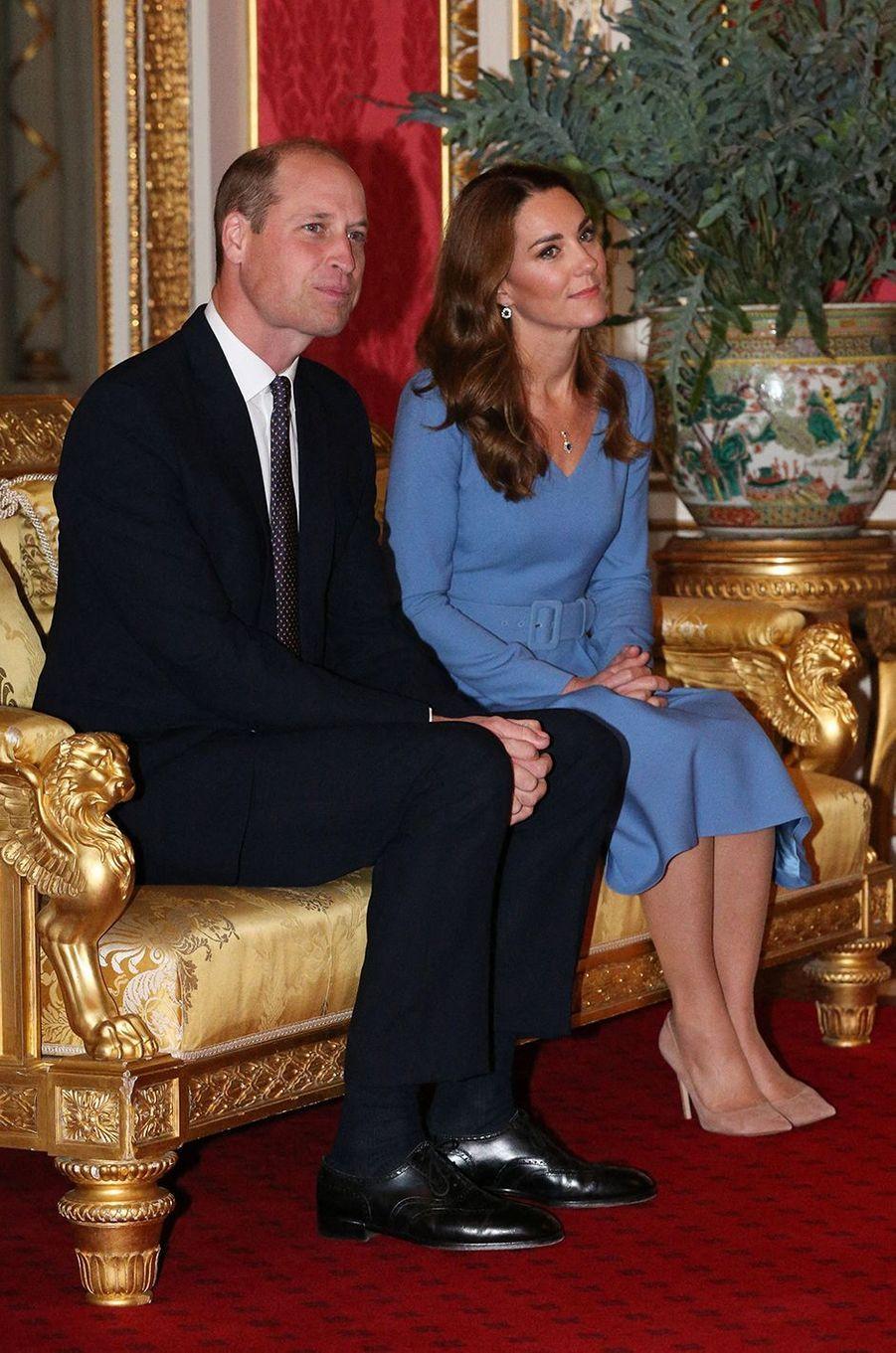 Le prince William et Kate Middletonreçoivent le président d'Ukraine, Volodymyr Zelensky, et sa femme Olena à Buckingham Palace à Londres, le 7 octobre 2020