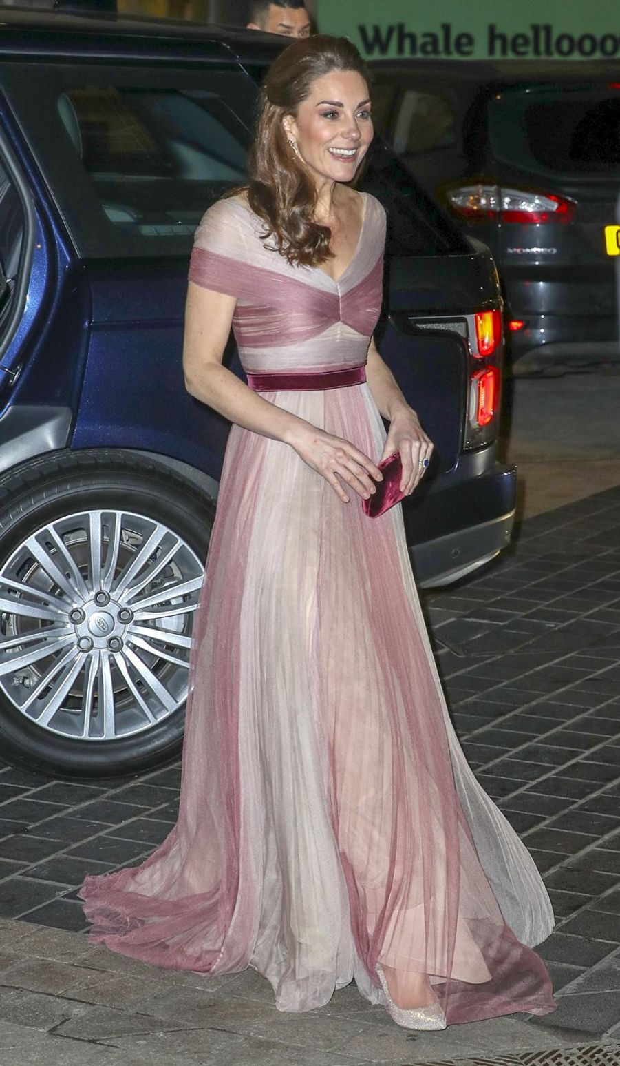 "Kate Middleton lors du dîner de gala ""100 Women in Finance"" au Victoria and Albert Museum de Londres, le 13 février 2019."