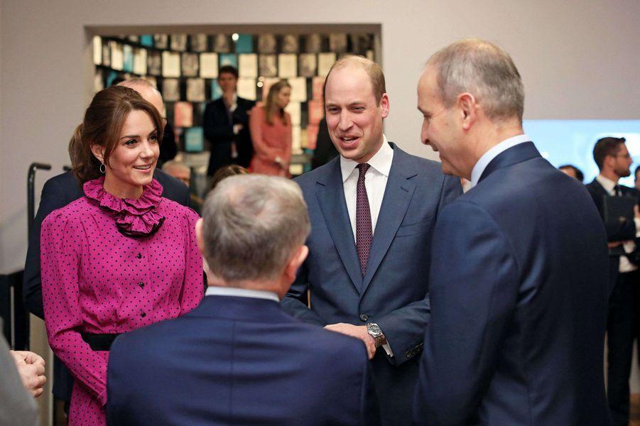 Kate Middleton et le prince William lors d'une réception donnée en leur honneurpar le vice-Premier ministre de l'Irlande Simon Coveney lors de leur visite officielle à Dublin le 4 mars 2020