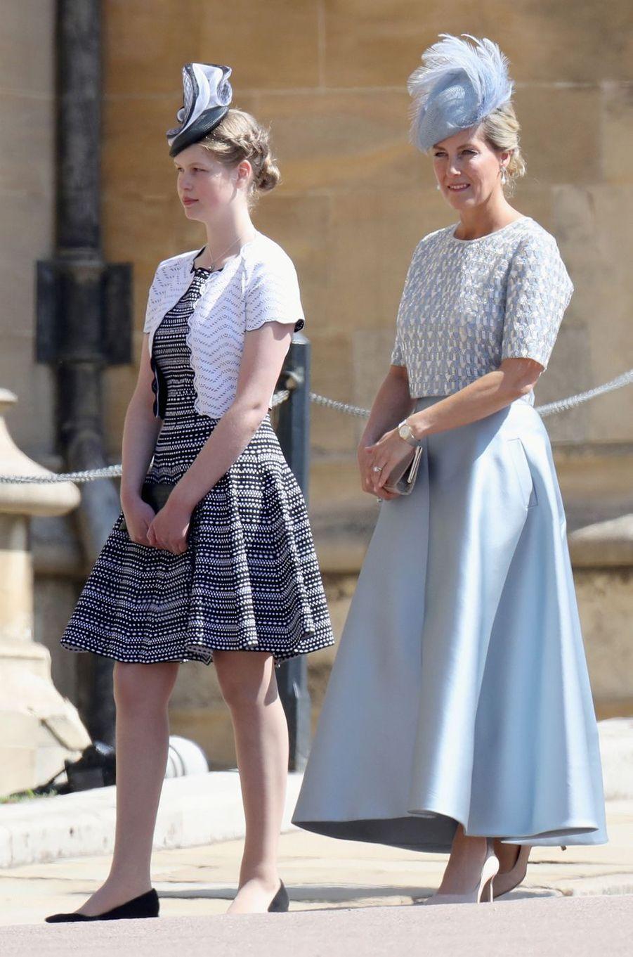 La comtesse Sophie de Wessex, en Suzannah, et sa fille Lady Louise Windsor, le 19 mai 2018