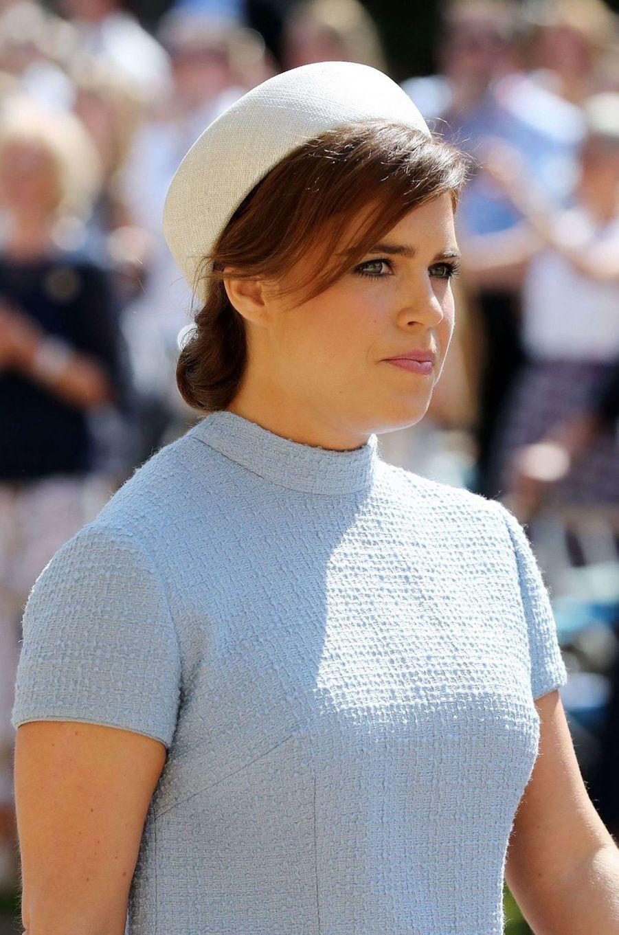La princesse Eugenie d'York coiffée d'un chapeau de Fiona Graham, le 19 mai 2018