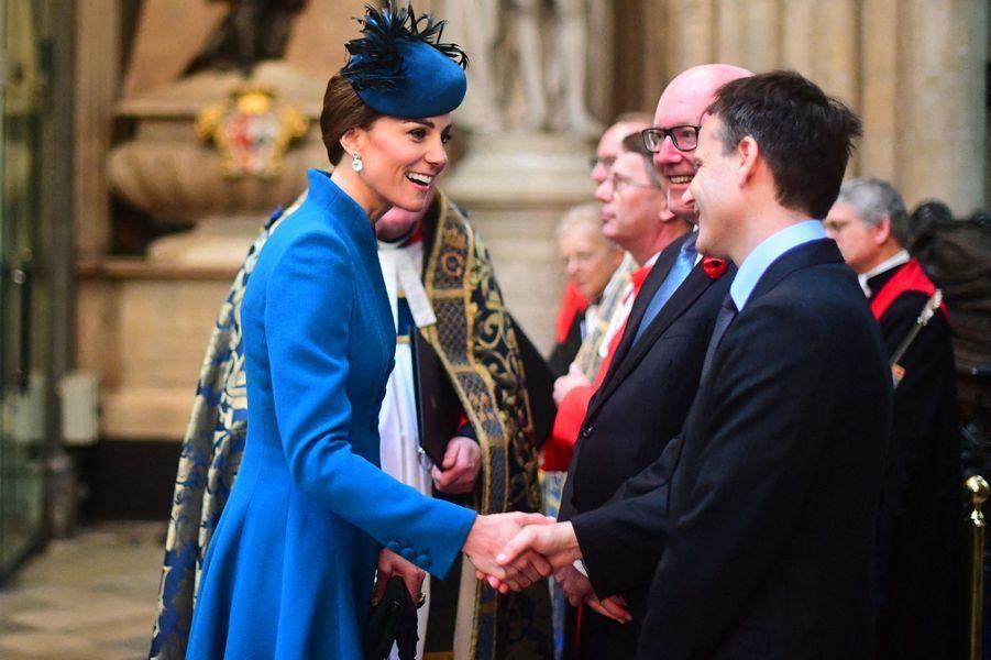 Kate Middleton à l'abbaye de Westminster pour lajournée commémorative de l'ANZAC Day à Londres le 25 avril 2019