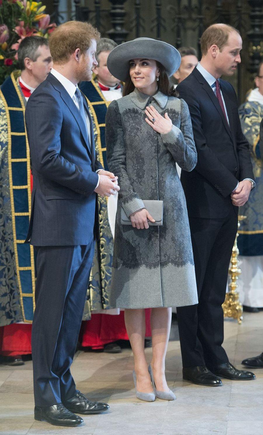Kate Middleton et le prince Harry à Londres, le 14 mars 2016
