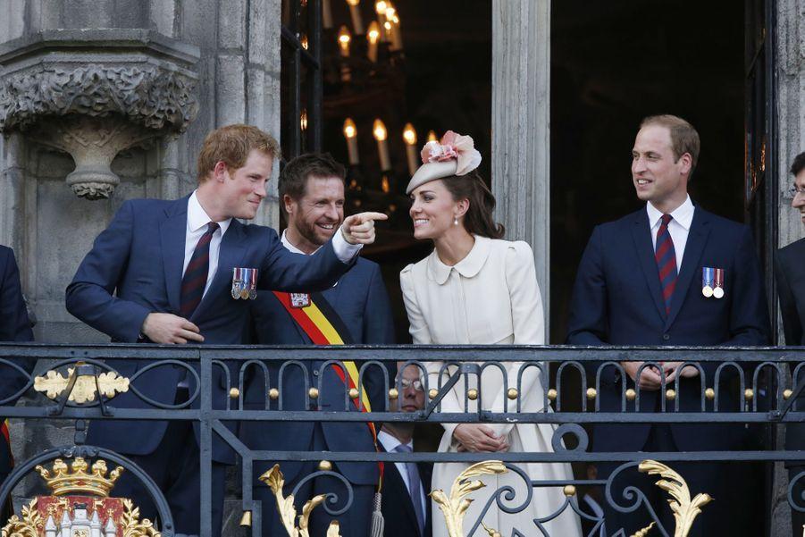 Kate Middleton et le prince Harry à Mons (Belgique), le 4 août 2014