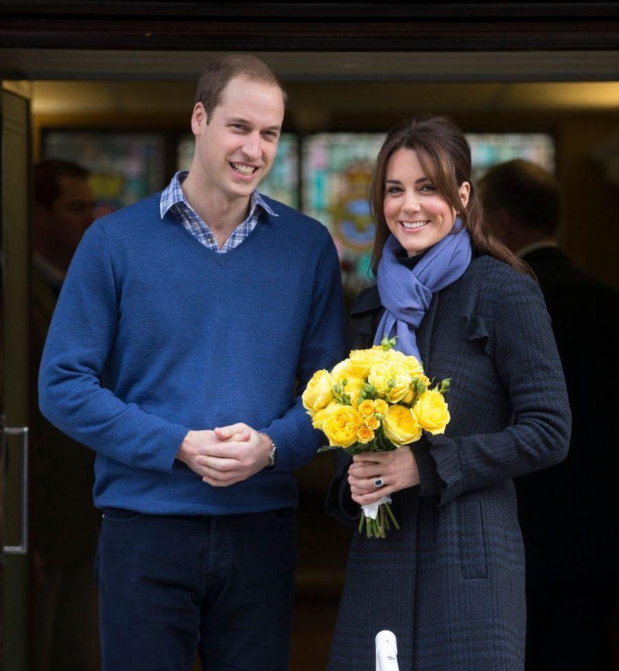 Kate après l'hospitalisation qui a révélé sa première grossesse, en décembre 2012