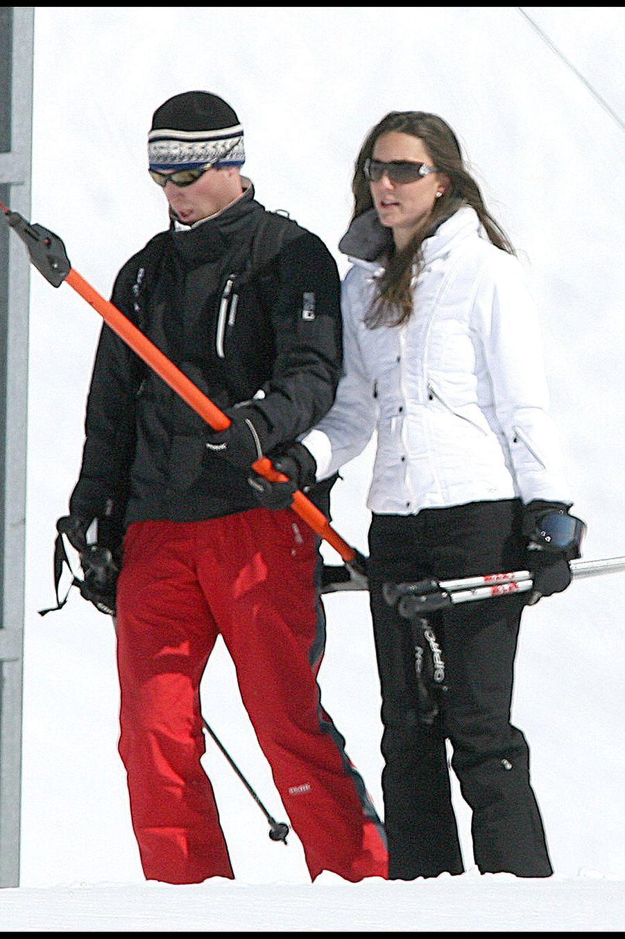 Kate Middleton et le prince William en vacances en Suisse en mars 2008