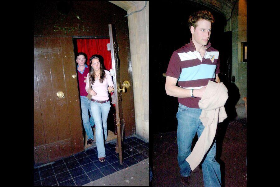 Kate Middleton et le prince William quittent le même club à 10 minutes d'écart, le 28 mars 2005