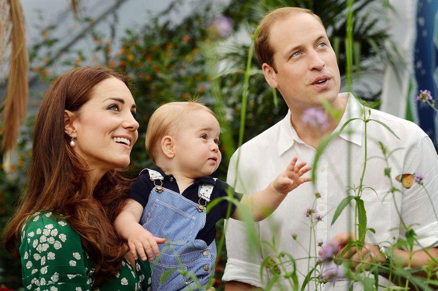 Photo officielle de Kate, William et George pour le premier anniversaire du petit prince en juillet 2014