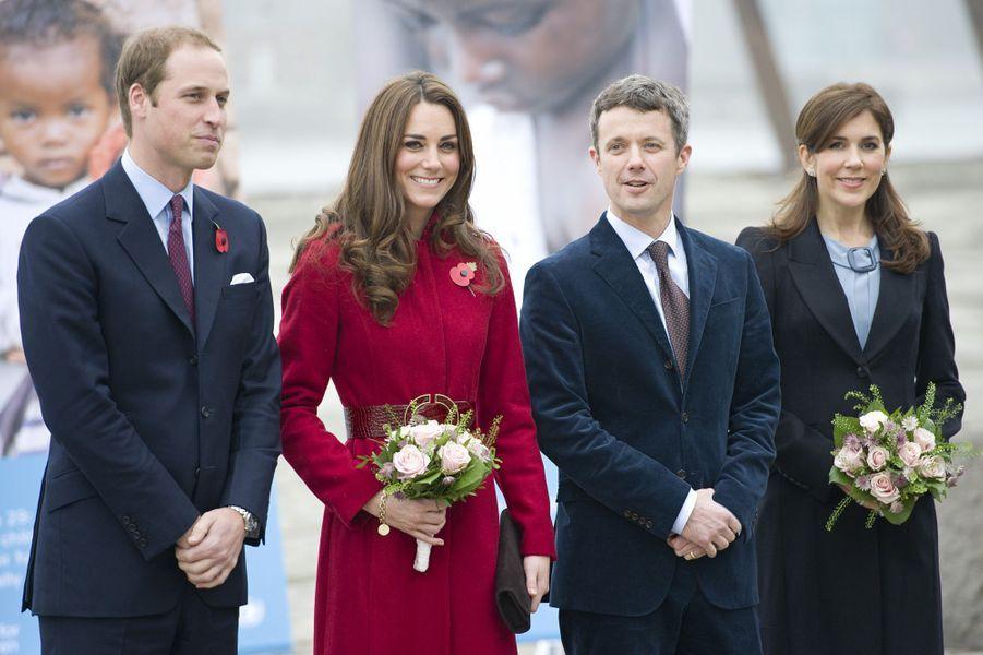 William et Kate reçus par la Princesse Mary et le Prince Frederik de Danemark, en novembre 2011 à Copenhague