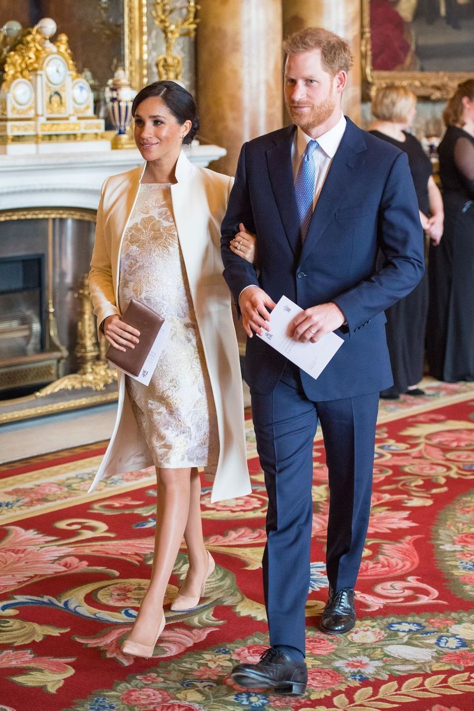 Meghan Markle et le prince Harry à la réception tenuepour les 50 ans de l'investiture du prince de Galles au palais de Buckingham le 5 mars 2019