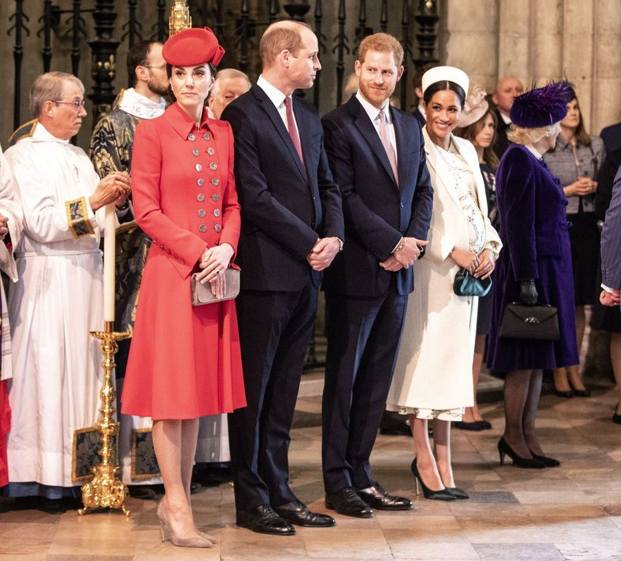 Kate Middleton, le prince William, le prince Harry et Meghan Markle au service religieux lors de la journée du Commonwealth à Londres