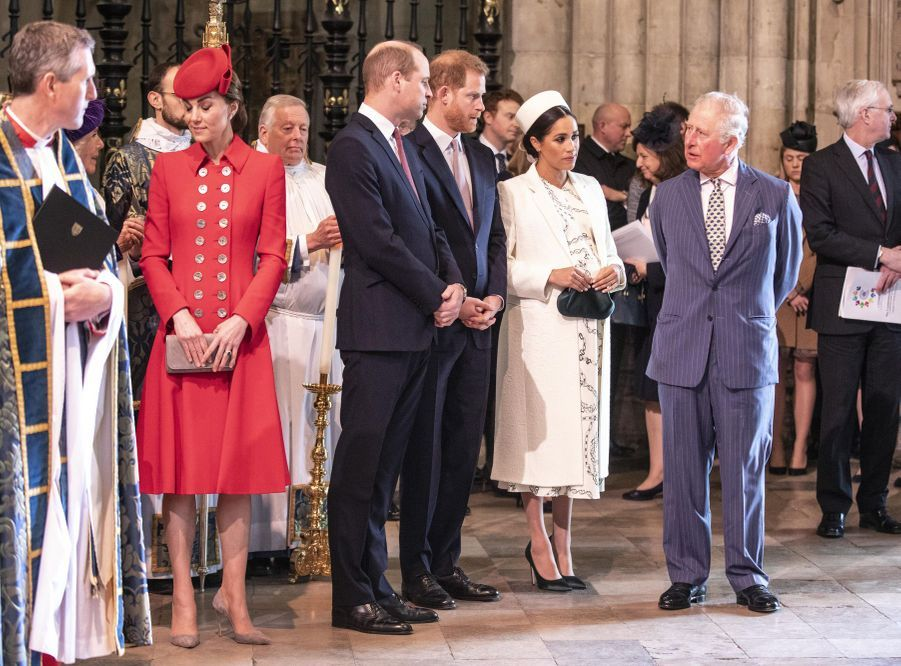 Kate Middleton, le prince William, le prince Harry, Meghan Markle et le prince Charles au service religieux lors de la journée du Commonwealth à Londres