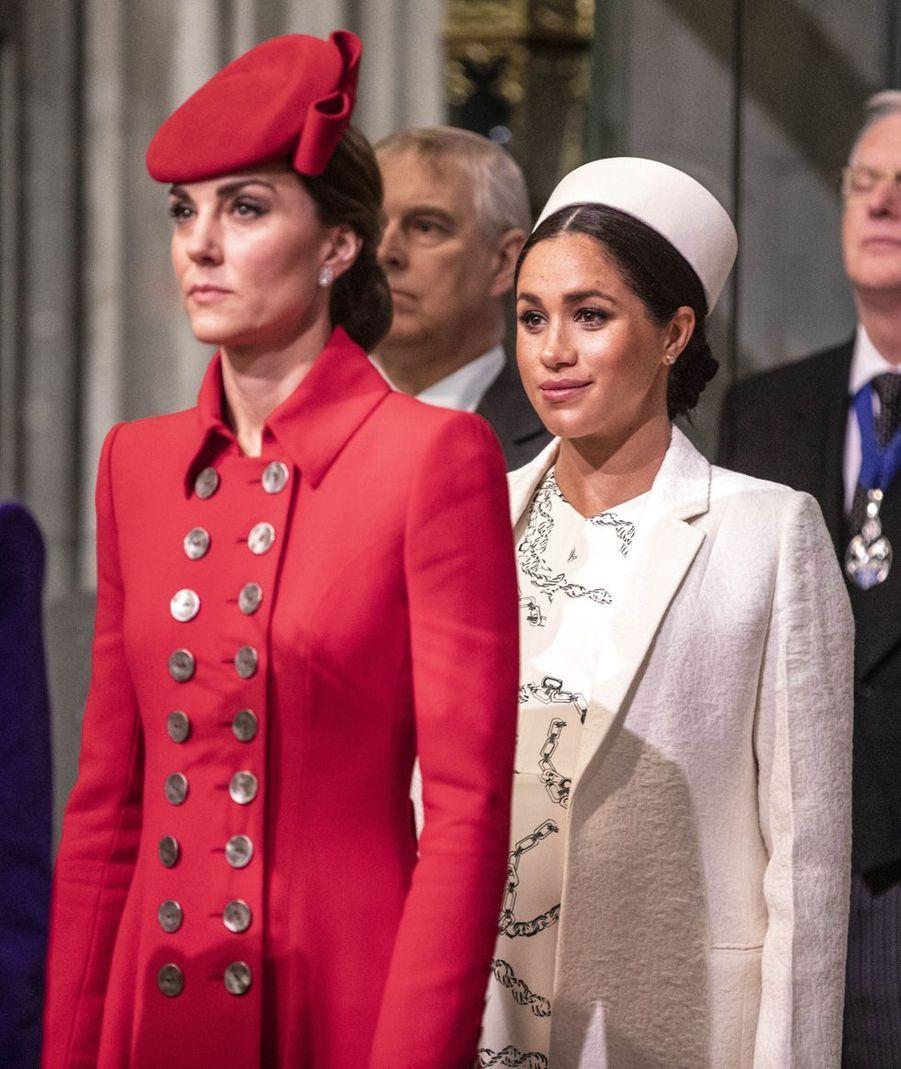 Meghan Markle et Kate Middleton au service religieux lors de la journée du Commonwealth à Londres