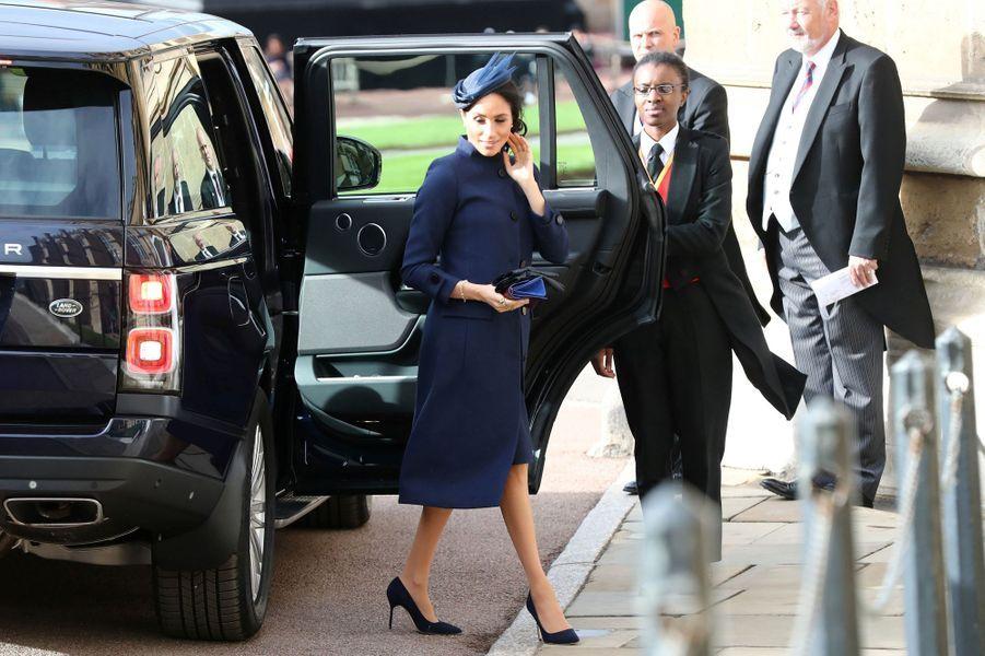 Meghan Markle, la duchesse de Sussex, dans un manteau Givenchy à Windsor, le 12 octobre 2018