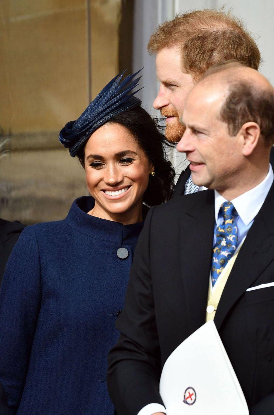 Meghan Markle, la duchesse de Sussex, avec les princes Harry et Edward à Windsor, le 12 octobre 2018
