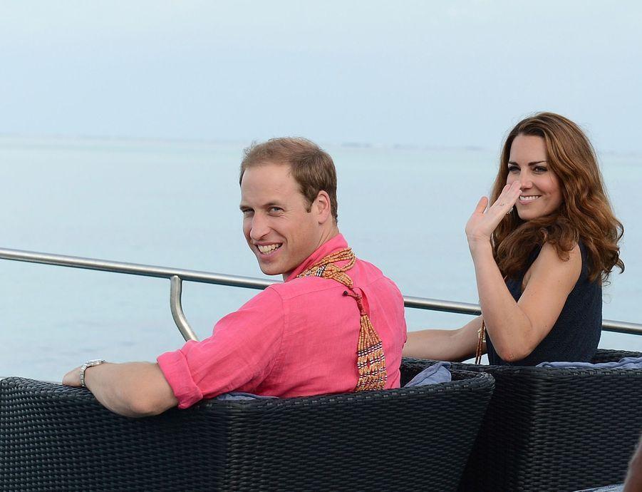 Kate Middleton et le prince William en visite sur lesÎles Salomon en Océanie en septembre 2012