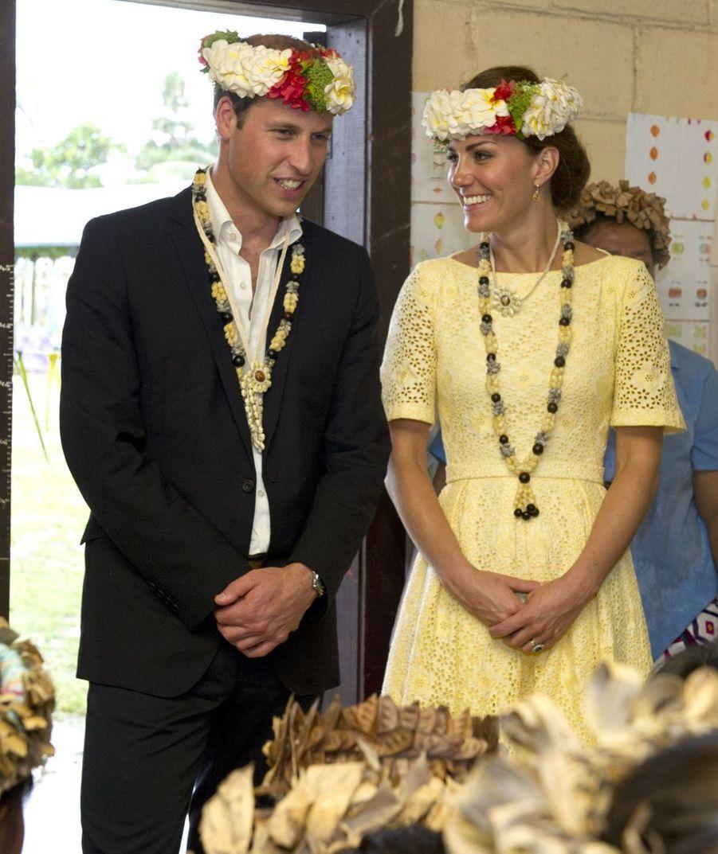 Kate Middleton et le prince William en visite à Tuvalu, en Océanie, en septembre 2012