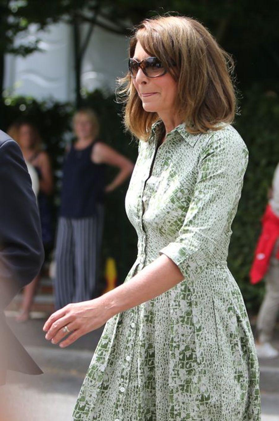 Carole Middleton à Wimbledon, le 8 juillet 2015