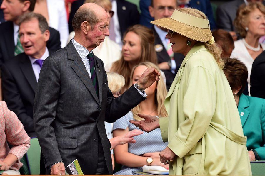 Le duc Edward de Kent et la princesse Marie-Christine de Kent à Wimbledon, le 8 juillet 2015