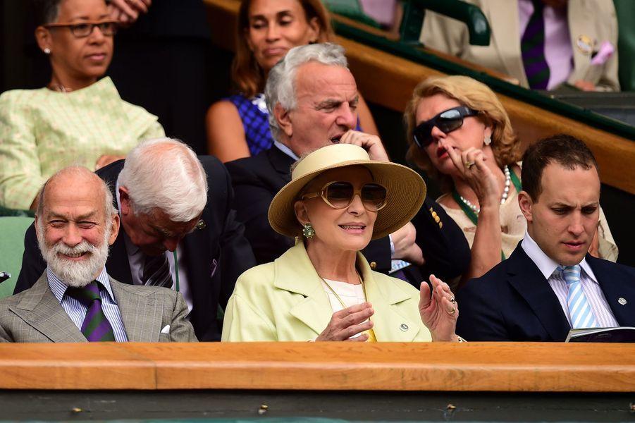 Le prince Michael et la princesse Marie-Christine de Kent avec Frederick Windsor à Wimbledon, le 8 juillet 2015