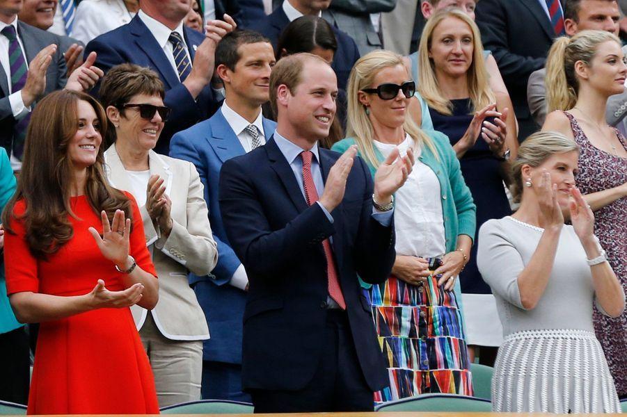 Le prince William et Kate, avec Sophie de Wessex, à Wimbledon, le 8 juillet 2015