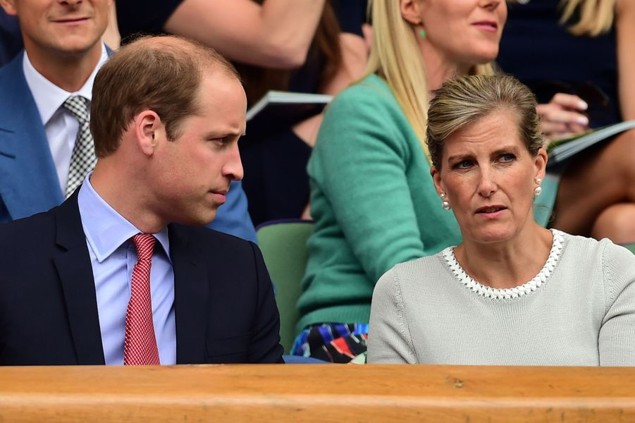 Le prince William et Sophie de Wessex à Wimbledon, le 8 juillet 2015