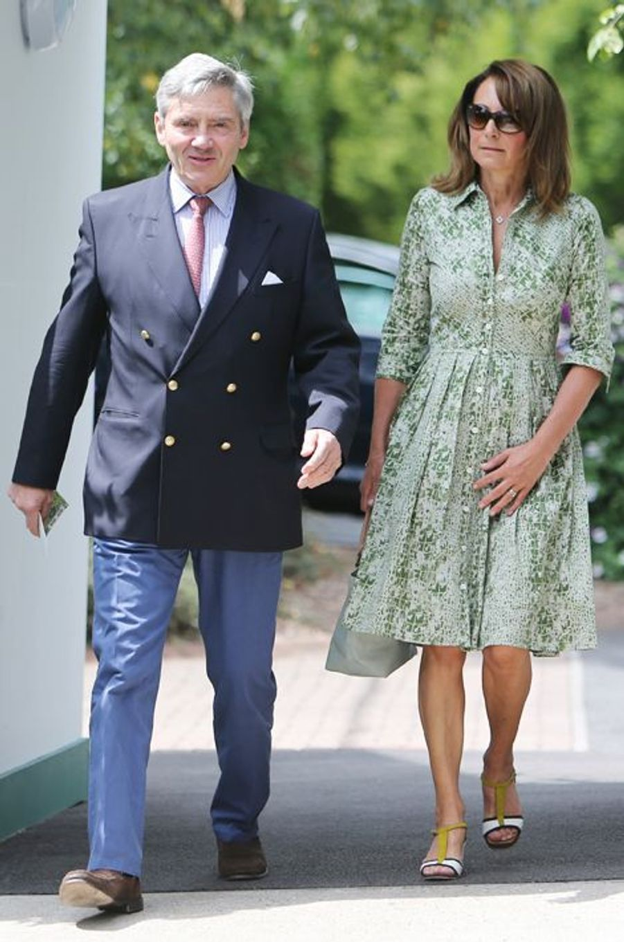 Michael et Carole Middleton à Wimbledon, le 8 juillet 2015