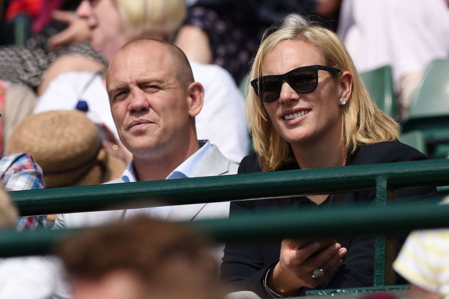 Zara Phillips et son mari Mike Tindall à Wimbledon, le 8 juillet 2015