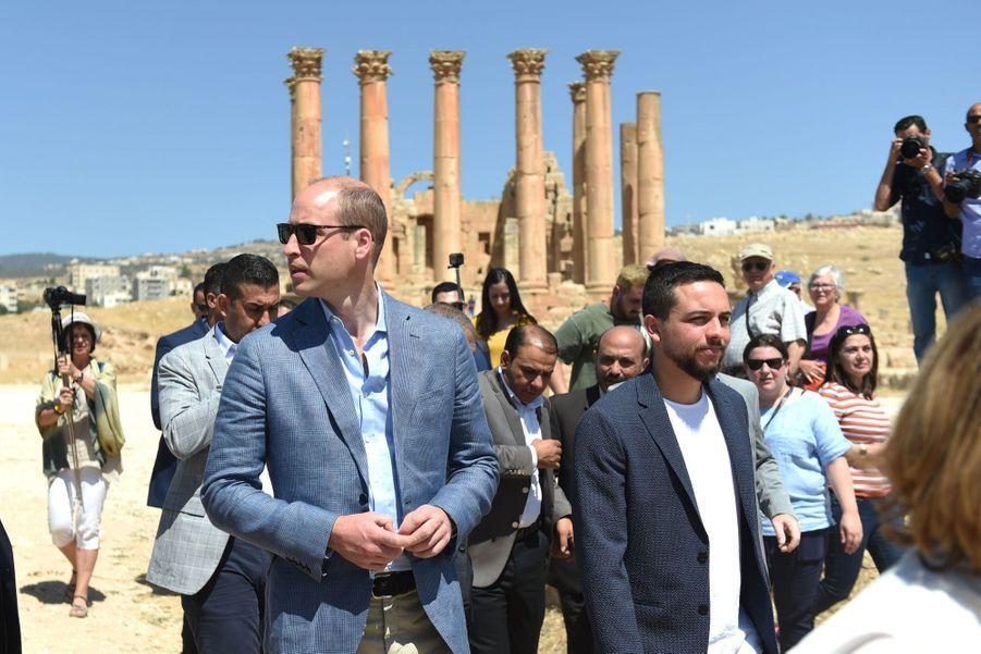 Le Prince William Et Le Prince Hussein De Jordanie En Visite Sur Le Site Archéologique De Jerash En Jordanie, Le 25 Juin 2018 ( 1