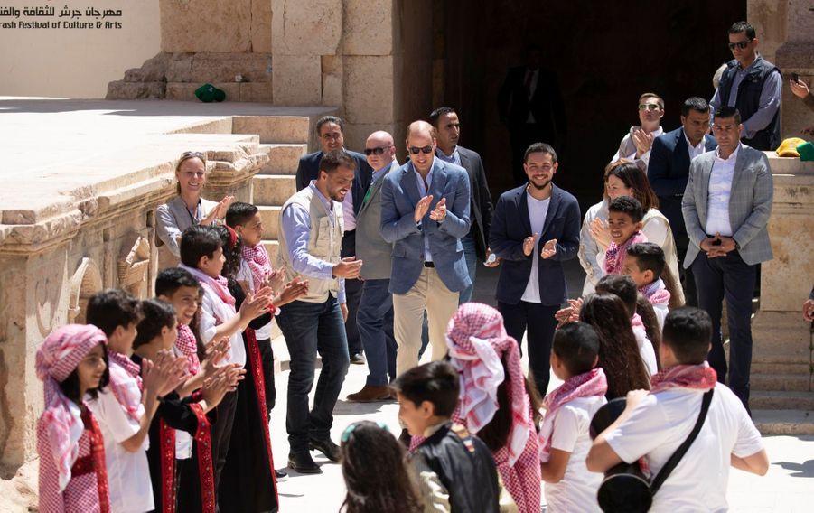 Le Prince William Et Le Prince Hussein De Jordanie En Visite Sur Le Site Archéologique De Jerash En Jordanie, Le 25 Juin 2018 ( 4