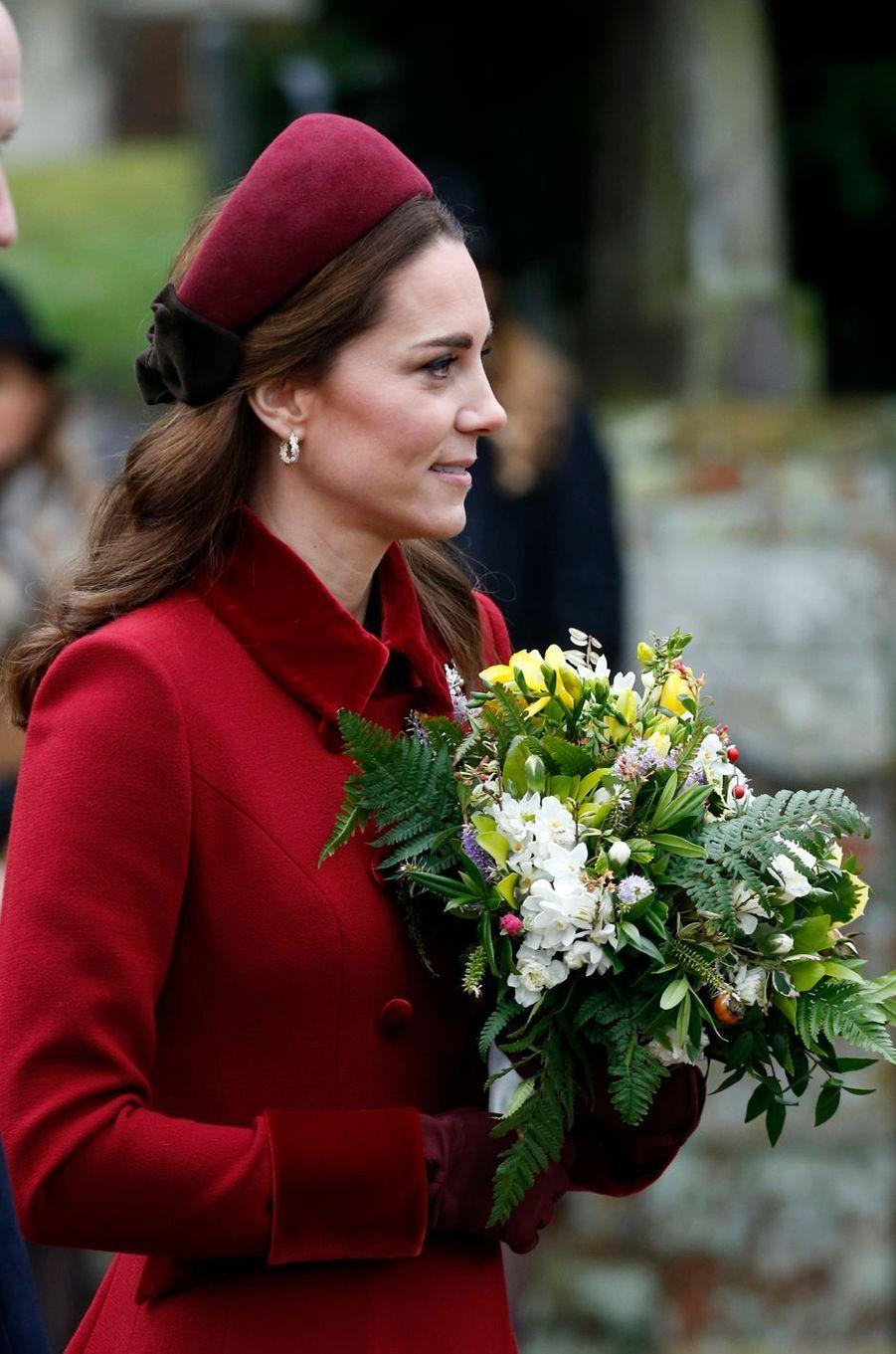 Kate Middleton, la duchesse de Cambridge, à Sandringham le 25 décembre 2018
