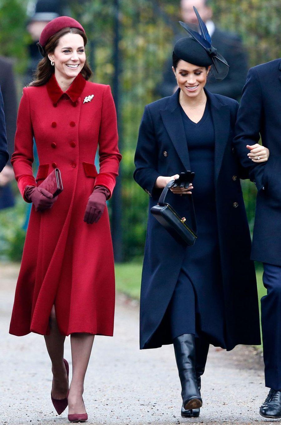 Kate et Meghan, les duchesses de Cambridge et de Sussex, à Sandringham le 25 décembre 2018