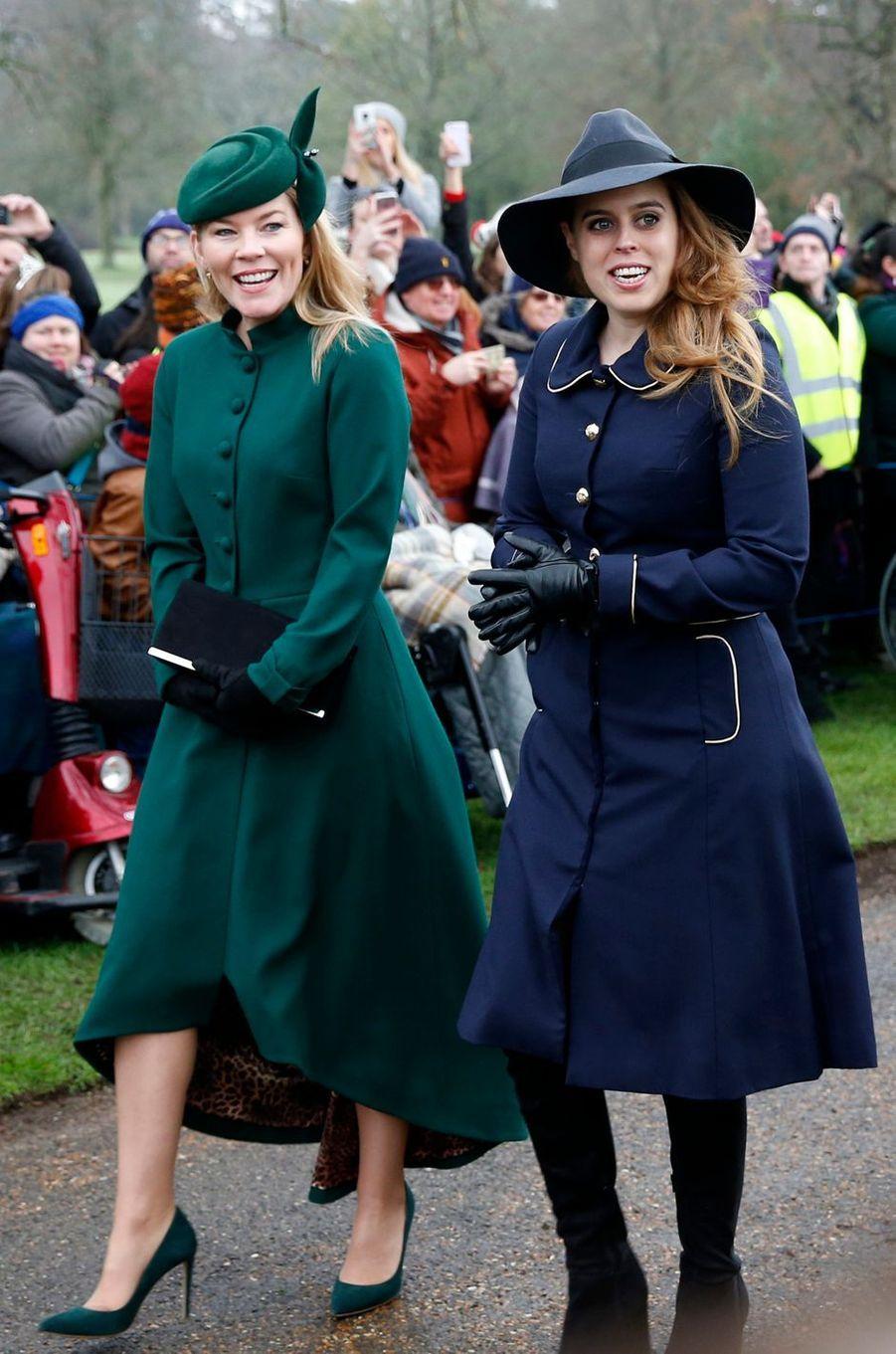 Autumn Phillips et la princesse Beatrice d'York à Sandringham, le 25 décembre 2018