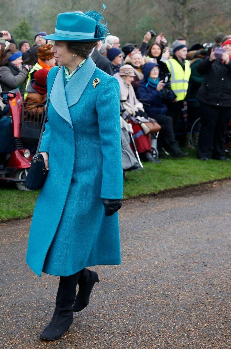 La princesse Anne à Sandringham, le 25 décembre 2018