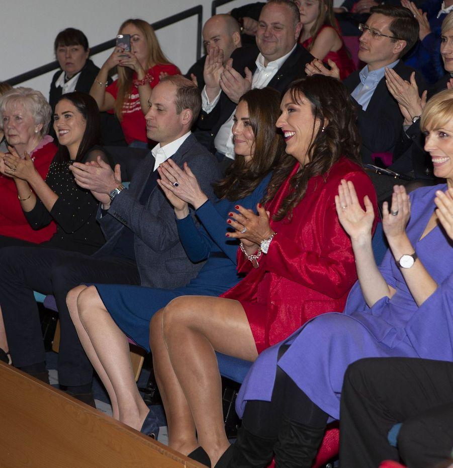 """Le prince William et Kate Middleton en visite au centre """"Braid Arts"""" à Ballymena, le 28 février 2019"""