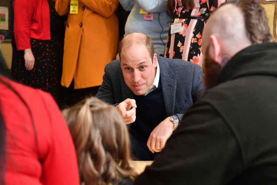 """Le prince William en visite au centre """"SureStart Facility"""" à Ballymena, le 28 février 2019"""