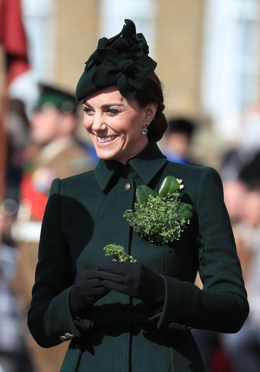 Kate Middleton lors des célébrations de la Saint-Patrick à Londres le 17 mars 2019