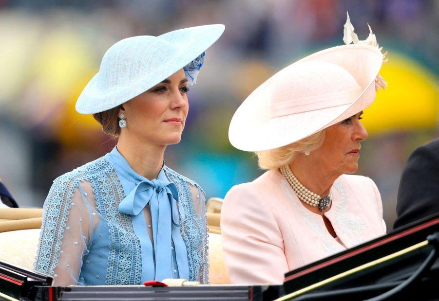 Kate Middleton et Camilla Parker Bowles au Royal Ascot dans le Berkshire le 18 juin 2019