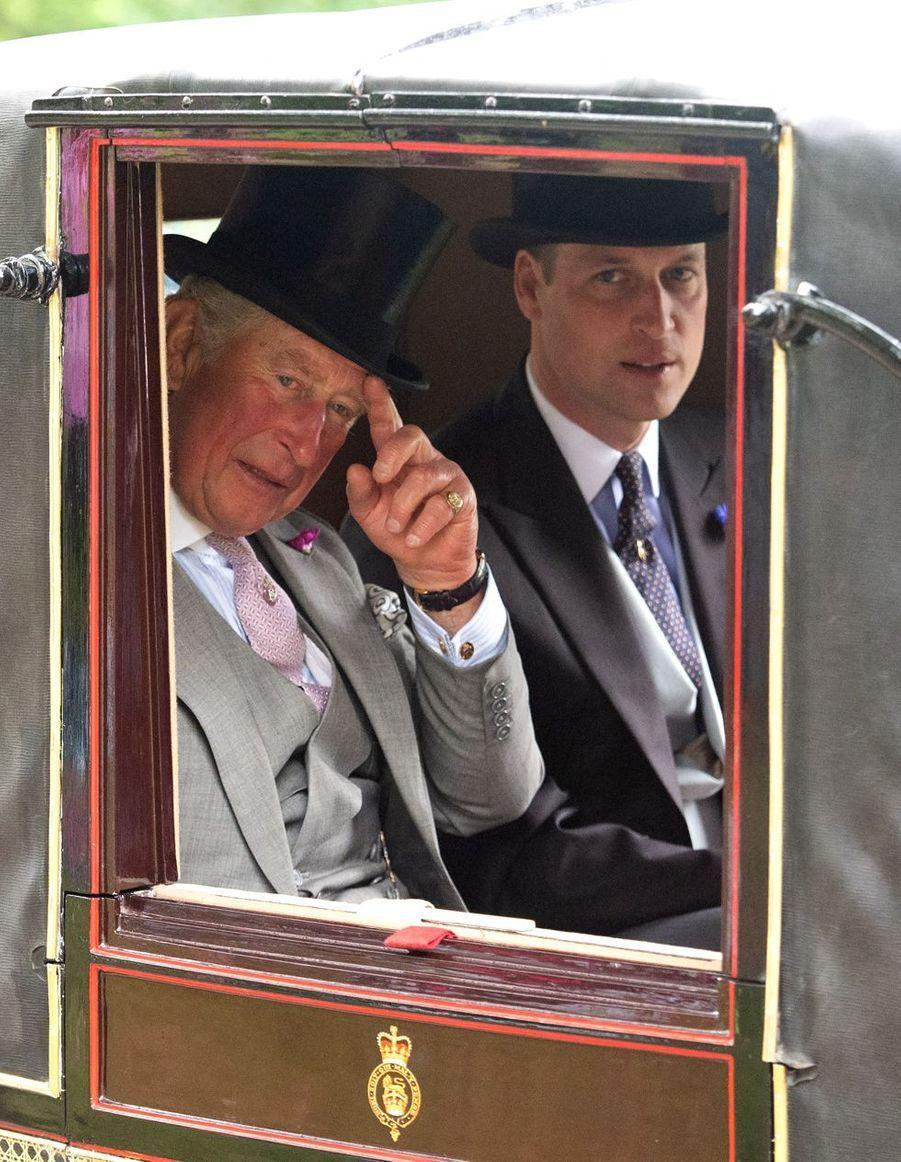 Le prince Charles et le prince William au Royal Ascot dans le Berkshire le 18 juin 2019