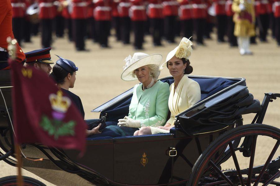 Kate Middleton au côté de Camilla Parker Bowles, Meghan Markle et le prince Harry lors de la parade Trooping the Colourle 8 juin 2019