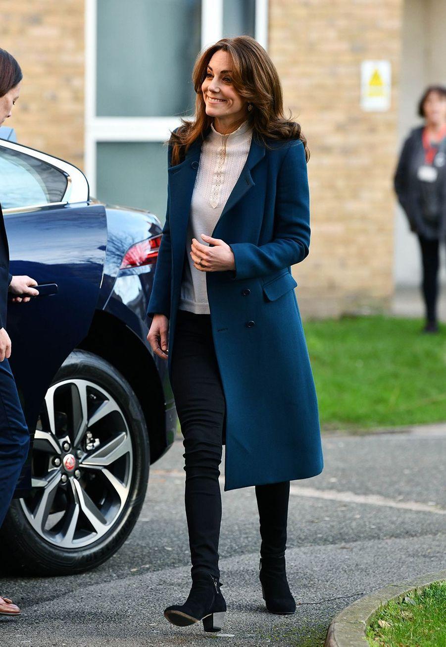 Kate Middletonvisite la crèche et le jardin d'enfants de Leyf Stockwell Gardens à Londres, le 29 janvier 2020.