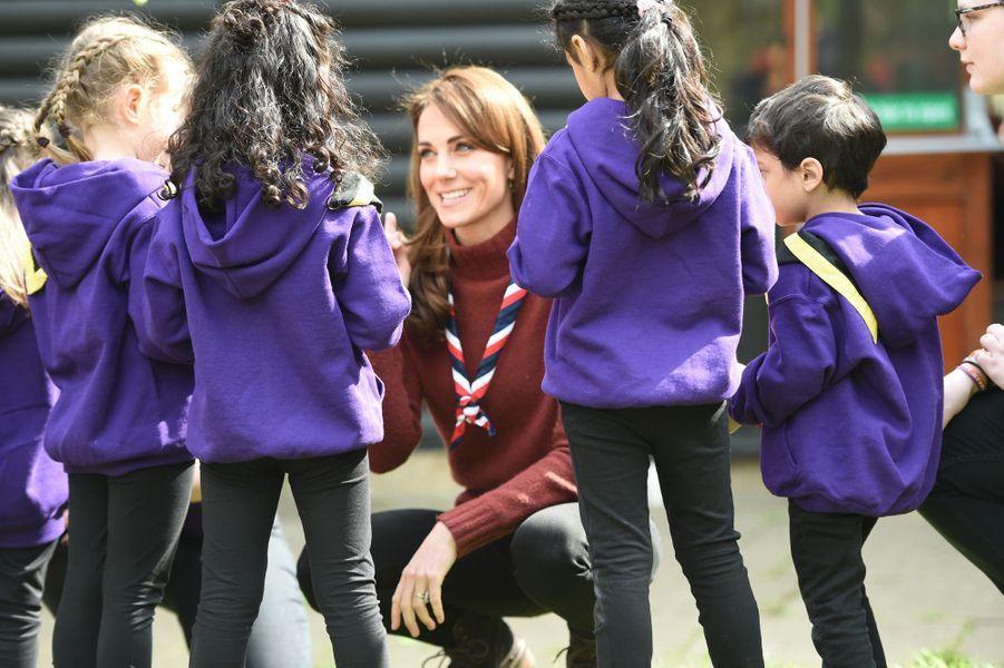 Kate Middleton au parc Gilwell à Londres, le 28 mars 2019