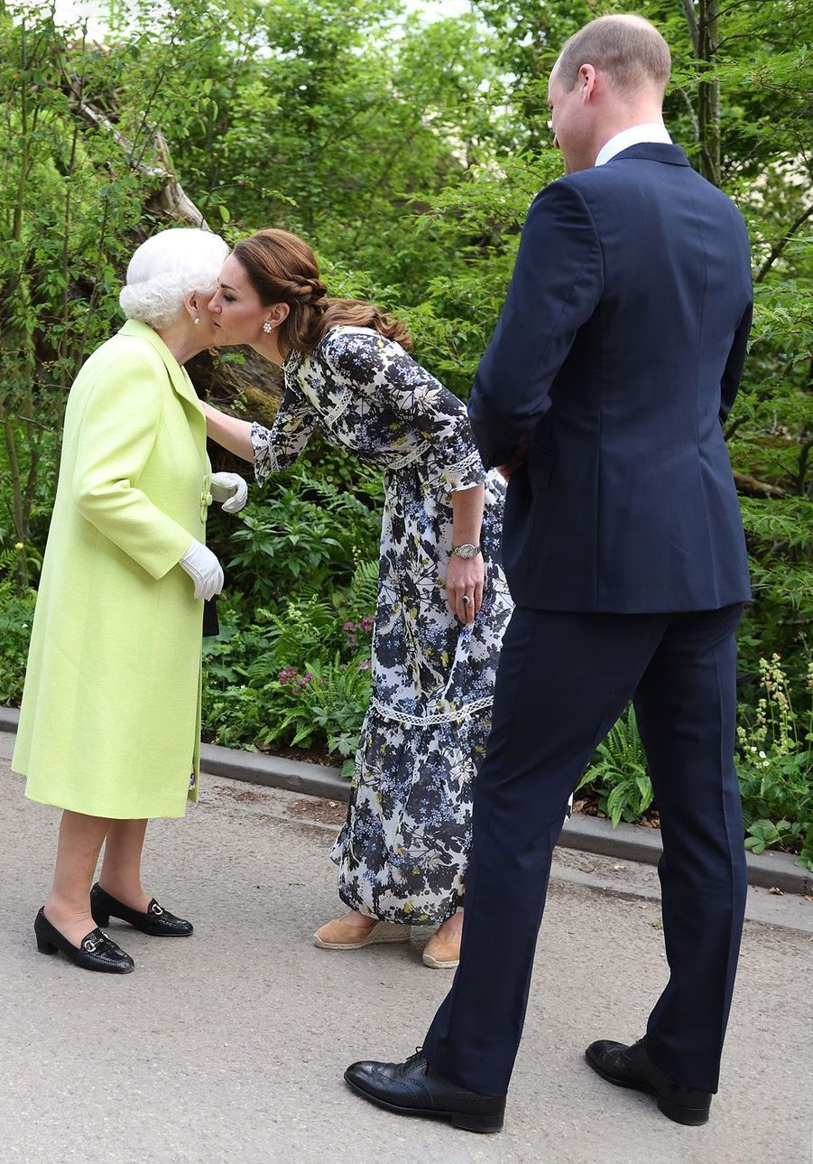 Kate, William et la reine Elizabeth II au Chelsea Flower Show de Londres, le 20 mai 2019