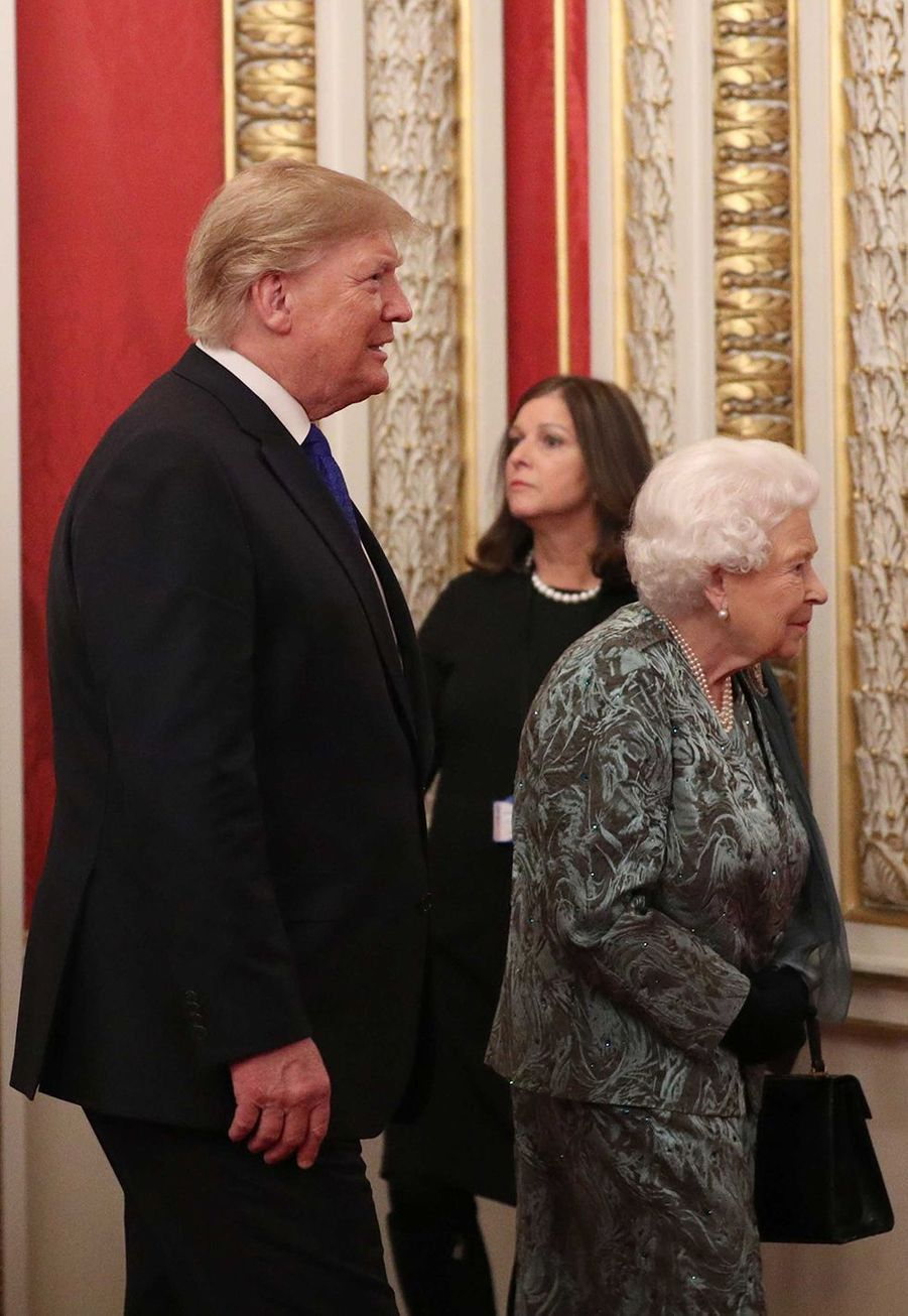 Donald Trump et la reine Elisabeth IIà Buckingham Palace lors du70ème anniversaire du Sommet de l'OTANà Londres le 3 décembre 2019